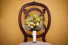 Yellow Wedding Bouquet for a Summer Wedding at Lost Creek Winery in Leesburg VA | Kelly Ewell Photography