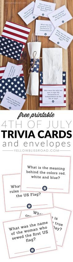 Free Printable of July Trivia Cards & Utensil Holders Free printable of July Trivia Cards and Utensil Envelopes Patriotic Party, Patriotic Crafts, July Crafts, Summer Crafts, 4th Of July Celebration, 4th Of July Party, Fourth Of July, 4th Of July Ideas, Holiday Parties