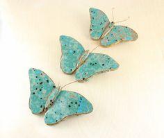 Ceramic Butterflies - Three Bright Butterflies - Ceramic Wall Art