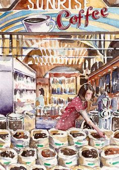 Sunrise Coffee Watercolor by Ashley Cecil