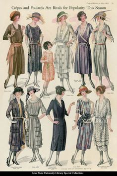 Catalogue page showing day dresses, 1921 United States, Pictorial Review Such an inspiring image.  These women have terrible rosacea but they look like they have so much confidence.