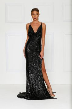 bae340a6b3 Andriana Gown -Black Sequins Low Back Dress with Cowl Neckline   Split  Black Sequin Gown