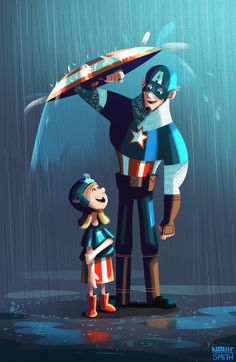 Nsmith_captain-america. That little girl is so me, that would be my reaction. just standing in the rain and then BAM! Captain America ;)