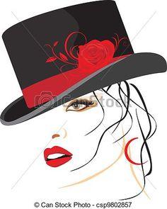 Vector - hermoso, mujer, elegante, sombrero - stock de ilustracion, ilustracion libre de, stock de iconos de clip art, logo, arte lineal, retrato de EPS, Retratos, gráficos, dibujos gráficos, dibujos, imágenes vectoriales, trabajo artístico, Arte Vectorial en EPS