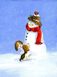 Veronica Vasylenko - snowman and puppies,003.jpg: