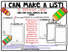 A YEAR OF MAKING LISTS! Perfect for the Writing Center. You receive 12 DIFFERENT lists for students to create/writing. $