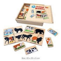 Wooden Animal Shadow Puzzle is a very well thought through animal matching game.The puzzle has 36 pieces made up of 32 small coloured pieces and 4 boards Brand - Fun Factory Animal Matching Game, Matching Games, Wooden Box With Lid, Wooden Boxes, Old Fashioned Toys, Travel Toys, Wooden Animals, Wooden Puzzles, Learning Toys
