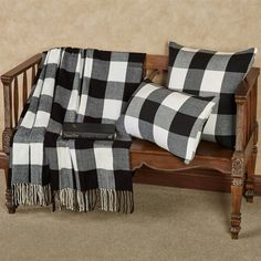 Rustic Buffalo Plaid Black and White Throw Blanket or Pillows, The distinctive check pattern on the Rustic Buffalo Plaid Black and White Throw Blanket decorates with classic farmhouse charm.