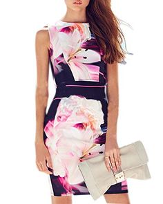 From 9.99:Roiii Womens Celebrity Multi Floral Print Ladies Bodycon Midi Party Pencil Dress