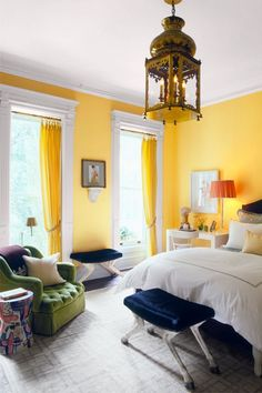 Colour Combination for Bedroom Wall Picture. Colour Combination for Bedroom Wall Picture. Wall Colour Bination for Small Bedroom Best Bedroom Colors, Bedroom Paint Colors, Bedroom Color Schemes, Bright Bedroom Colors, Yellow Walls Living Room, Yellow Bedrooms, Bedroom Color Combination, Bedroom Decor, Bedroom Ideas
