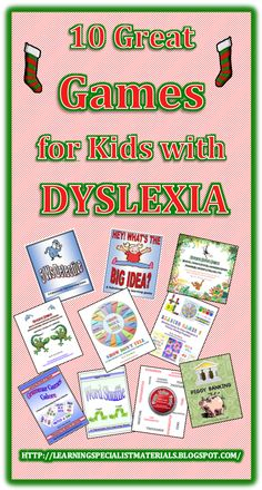 Come learn about 10 Great games for kids with dyslexia. You can even get a free sample game! #dyslexia #dyslexic