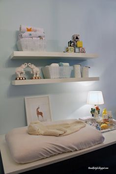 Shelves over changing table