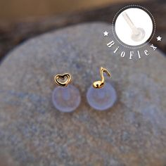 TRAGUS SET 3mm tiny Heart & Music note Sterling silver от lopic
