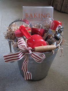 cute wedding gift--a baking bucket.  Complete with baking book, measuring cups, spices, etc.