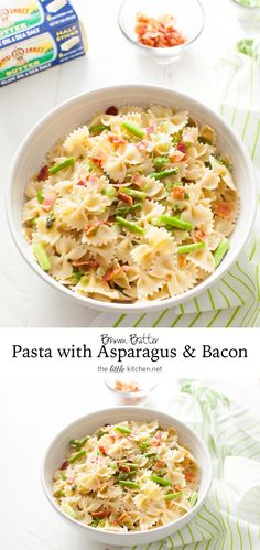 Brown Butter Pasta with Asparagus & Bacon (use GF pasta & precooked bacon) Pasta Recipes, Dinner Recipes, Cooking Recipes, Healthy Recipes, Asparagus Bacon, Asparagus Pasta, Italian Recipes, Great Recipes, Favorite Recipes