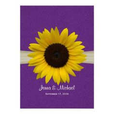 Sunflower and Burlap Purple Wedding Announcement