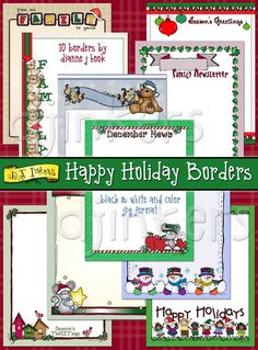 Happy Holiday Borders clip art, christmas borders, christmas clip art, cute, family newsletter, december, happy holidays