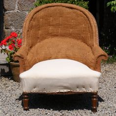 Very Large Round Back Tub Chair covered in Hessian and Calico. Height: 90cm Width: 85cm Depth of seat: 53cm