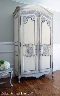 Vintage HENREDON French Country Louis XV Style Shabby Chic Weathered Antique White and Grey Armoire / Entertainment Center / Wardrobe by FrenchCountryDesign on Etsy https://www.etsy.com/listing/243459448/vintage-henredon-french-country-louis-xv