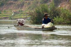 Fischer bei den 4000 Inseln in Laos