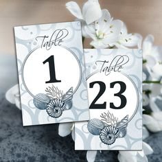 Beach Wedding Printable Table Numbers, Blue Nautical Table Cards Template, Seashells Table Numbers, Wedding Cards 1-30, Instant Download PDF
