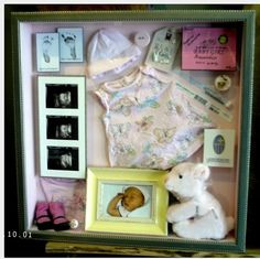 Baby shadow box (love the ultrasound and newborn photo idea) pair with birth info print