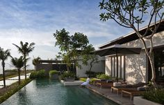 modern architecture - scda architects - alila villas soori - tanah lot - bali - three-bedroom residence - exterior view - swimming pool