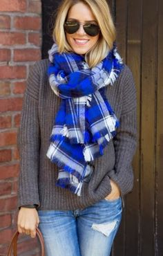 Distressed jeans,oversized sweater,stylish brown purse and scarf