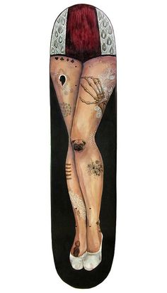 hand painted wooden skateboard deck #DelaneyGibbons #illustration