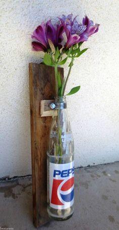 Country Shabby Vintage Glass Soda Bottle Spanish
