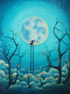 12x16 Original Acrylic Painting, Child Painting The Moon, Trees, Fantasy, Dream, Clouds, Night Sky, Stars, Ladder, Home Decor, Childs Room