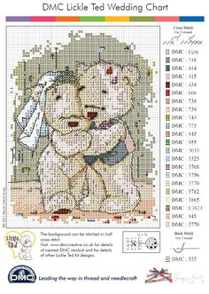 Wedding Teddy Cross Stitch Pattern