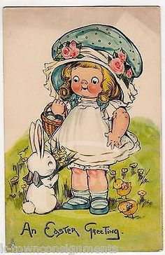 DOLLY DRAKE CAMPBELL SOUP ART ANTIQUE EASTER BUNNY GRAPHIC ART POSTED POSTCARD