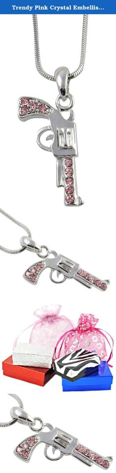 """Trendy Pink Crystal Embellished 1"""" Silver Tone 3-D Handgun / Gun / Pistol Necklace for Teens and Women. Jewelry by Glamour Girl Gifts products will arrive to you in either a gift box, organza jewelry bag, satin jewelry bag or velvet jewelry bag."""