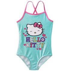 NWT Girls 5 5T HELLO KITTY Face One Piece Swimsuit Swimwear Aqua Pink Swim Beach