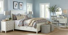 Good use of white furniture/colored walls. Bedroom Photos, Design Ideas, Pictures & Inspiration | Birch Lane