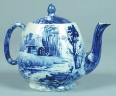 flow blue teapot decorated with scene of cabin in the woods by river, in Delft blue and white, ceramic Delft, Flow Blue China, Blue And White China, Antique China, Vintage China, Willow Pattern, Himmelblau, Teapots And Cups, China Patterns