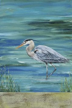 Great Blue Heron 1 Canvas Print / Canvas Art by Jean Plout Watercolor Bird, Watercolor Paintings, Bird Paintings, Watercolors, Canvas Art, Canvas Prints, Art Prints, Coastal Art, Blue Heron