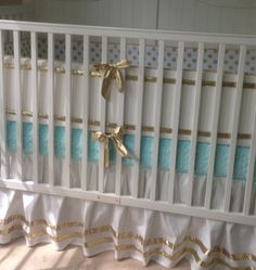 Gold and Tiffany Blue Crib Bedding Set by butterbeansboutique