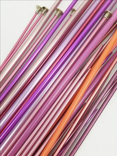 Vintage knitting needle lot pinks and purples aluminum plastic 14 and 10 inch…