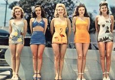1940s+Bathing+Suits | ... arent these suits adorable that flamingo suit in the middle is amazing