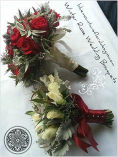 Red & White wedding flowers, Winter theme.  www.bluemountainsfloraldesigns.com