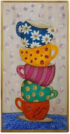 Coffee Cup Good Morning Framed Painting x Colorful Flowers Decor Art Painting Frames, Diy Painting, Coffee Painting Canvas, Canvas Art Projects, Canvas Crafts, Coffee Cup Art, Tea Art, Colorful Paintings, Whimsical Art
