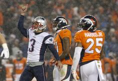 New England Patriots kicker Stephen Gostkowski (3) celebrates his game-tying field goal during the second half of an NFL football game against the Denver Broncos, Sunday, Nov. 29, 2015, in Denver. (AP Photo/Joe Mahoney)