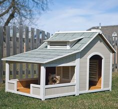 The subtle colors of this cool outdoor dog house make it look so awesome!