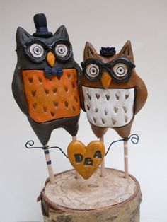 Rustic Wedding Cake Topper Woodland Owls in Orange by indigotwin, $70.00