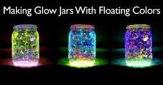 """Glow jars are a fun project to add some drama and romance to outdoor events. They can be used in a multitude of ways as with solar lights. They are easy and fun to make. The """"twist"""" on this project is the addition of glitter or a piece of tulle which can make some of … Glow Stick Crafts, Glow Stick Jars, Glow Crafts, Glow Sticks, Fun Crafts, Fairy Glow Jars, Mason Jar Solar Lights, Glow Lamp, Small Lamps"""
