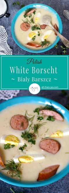 White Borscht Easter Breakfast Soup - Bialy Barszcz - Classic Polish Easter dish made with simple ingredients and packed with flavor is traditionally served for breakfast. Potatoes, kielbasa, leek, and boiled eggs are the main ingredients that you probably already have on hand.   allthatsjas.com   #EasterRecipes #soup #breakfast #Polish #blessings #HolySunday #simple #easy #deliciousfood #recipe #kielbasa #creamy #boiledeggs #eggs