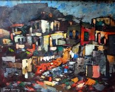 Enslin, George | Cape Malay Houses | Oil on Canvas |Code: 9211 |  Size : 615x765mm Artist Painting, Oil On Canvas, Cape, Russia, African, Houses, Gallery, Mantle, Homes