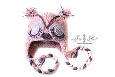 Are you a night owl, wise owl or simply an owl fan, we have the hat for you.  Handmade crocheted owl hat with Ear flaps and sleepy eyes for teens for adults and for kids.    COLOR: Teal, Soft Rose, Grey, Earth, Natural, Folksong and Slate    Size: Newborn, Kids, Teens and Adults    Starting at $ 35.00 CAD    Visit Us at : www.irarott.com
